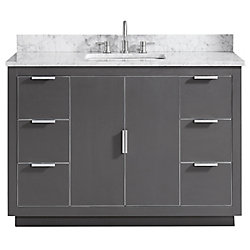 Avanity Austen 49 inch Vanity Combo in Twilight Gray w/ Silver Trim with Carrera White Marble Top