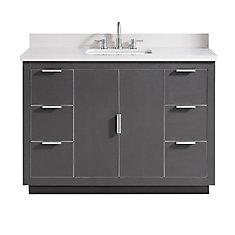Austen 49 inch Vanity Combo in Twilight Gray w/ Silver Trim with White Quartz Top