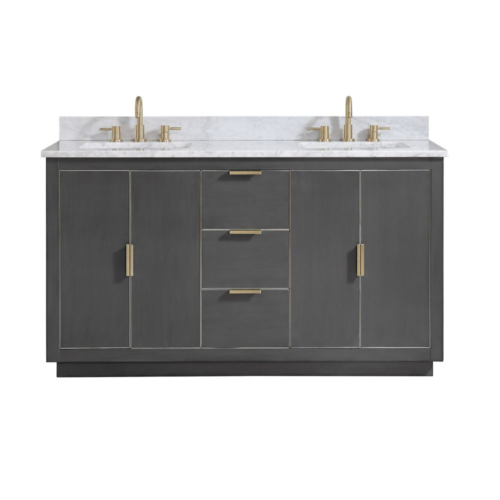 Avanity Austen 61 inch Vanity Combo in Twilight Gray w/ Gold Trim with Carrera White Marble Top