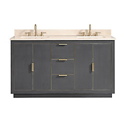 Avanity Austen 61 inch Vanity Combo in Twilight Gray w/ Gold Trim with Crema Marfil Marble Top