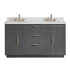 Austen 61 inch Vanity Combo in Twilight Gray w/ Gold Trim with White Quartz Top