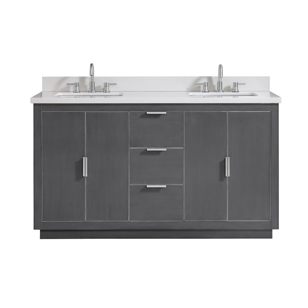 Avanity Austen 61 inch Vanity Combo in Twilight Gray w/ Silver Trim with White Quartz Top