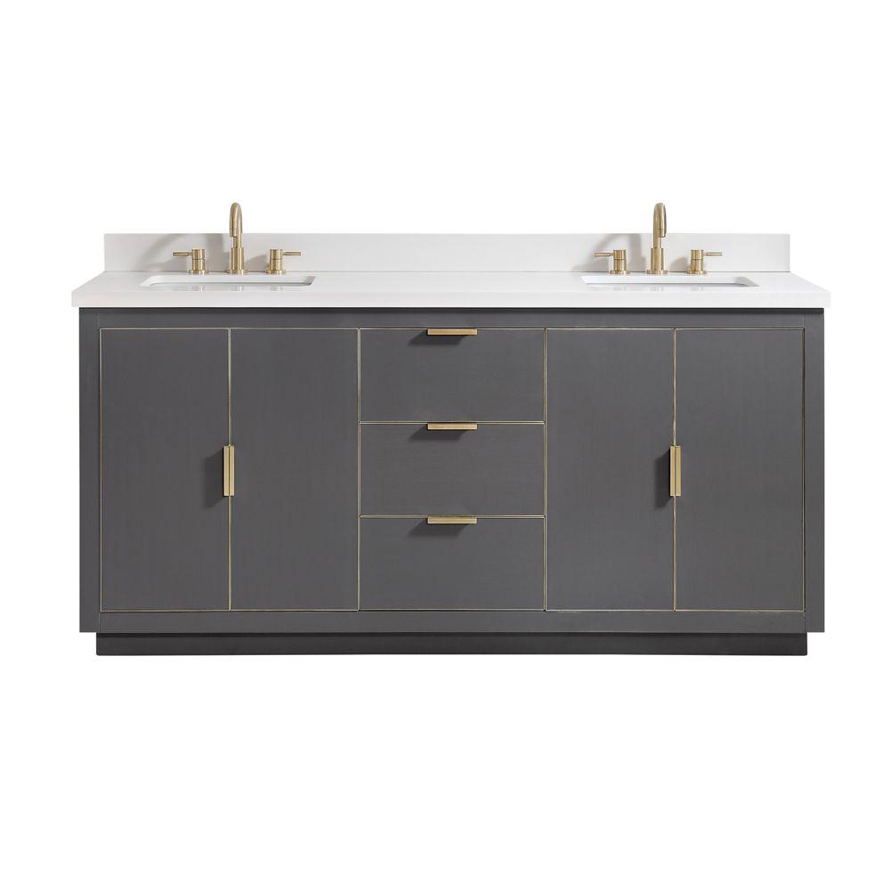 Avanity Austen 73 inch Vanity Combo in Twilight Gray w/ Gold Trim with White Quartz Top