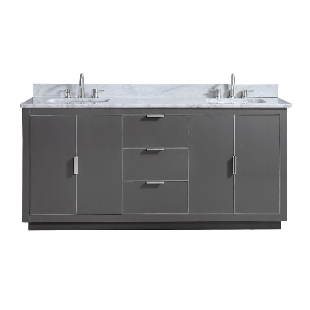 Austen 73 inch Vanity Combo in Twilight Gray w/ Silver Trim with Carrera White Marble Top