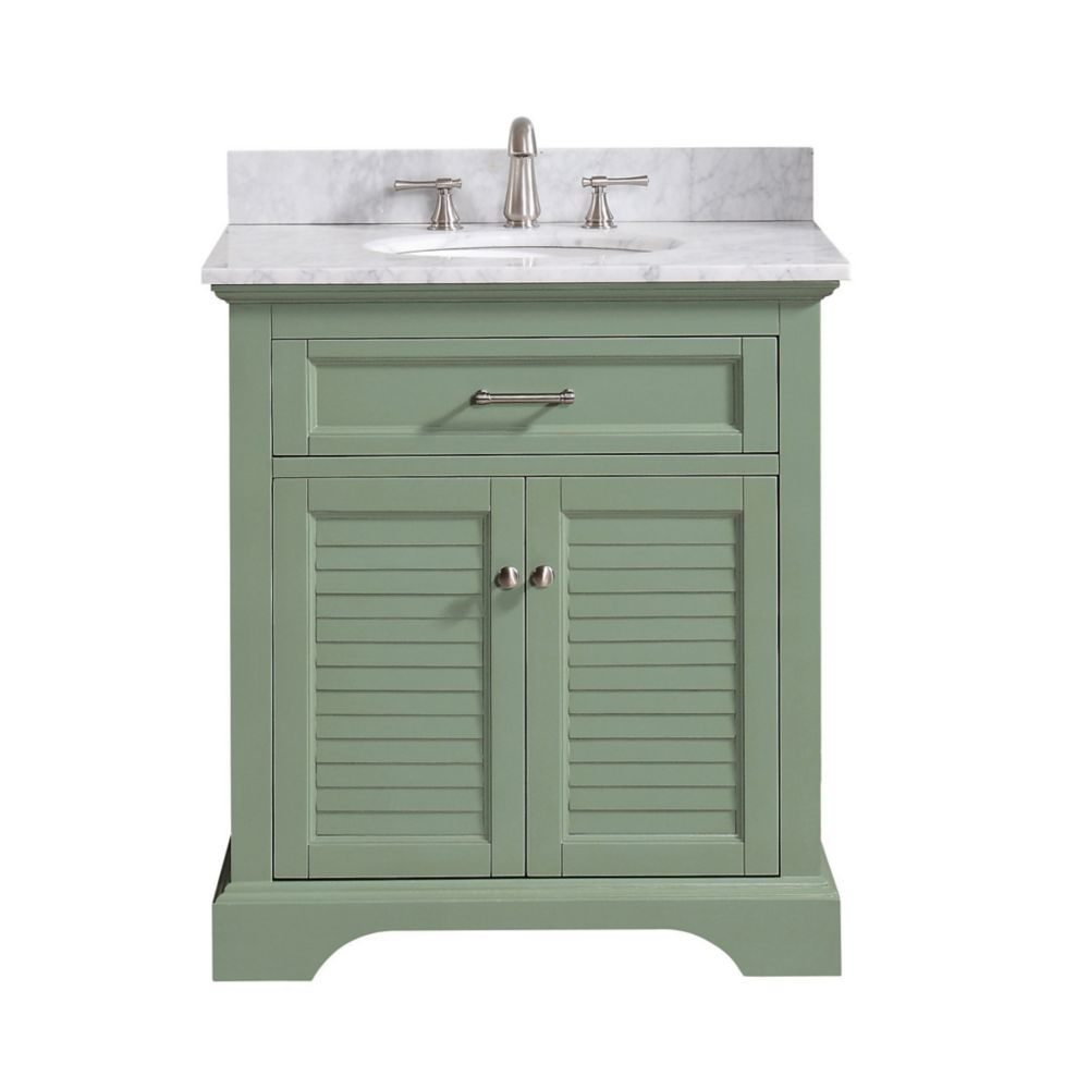 Avanity Colton 31 inch Vanity Combo Only in Basil Green with Carrera White Marble Top