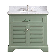 Colton 37 inch Vanity Combo Only in Basil Green with Carrera White Marble Top