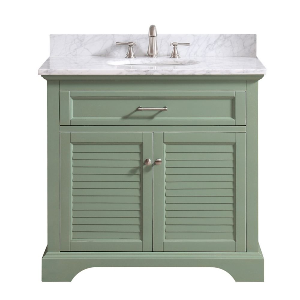 Avanity Colton 37 inch Vanity Combo Only in Basil Green with Carrera White Marble Top