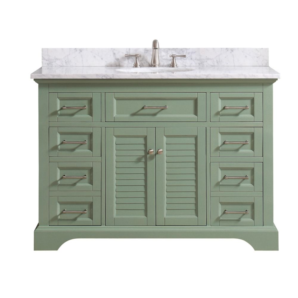 Avanity Colton 49 inch Vanity Combo Only in Basil Green with Carrera White Marble Top