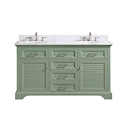 Avanity Colton 61 inch Vanity Combo Only in Basil Green with Carrera White Marble Top