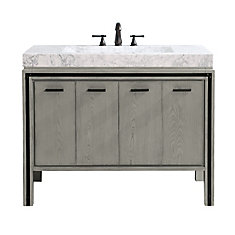 Dexter 43 inch Vanity Combo in Rustic Gray with Integrated Carrera White Marble Top