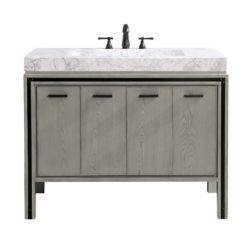 Avanity Dexter 43 inch Vanity Combo in Rustic Gray with Integrated Carrera White Marble Top