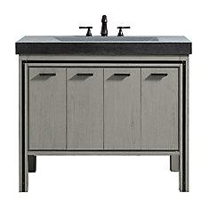 Dexter 43 inch Vanity Combo in Rustic Gray with Integrated Gray Granite Top