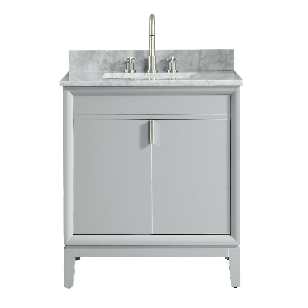 Avanity Emma 31 inch Vanity Combo in Dove Gray with Carrera White Marble Top