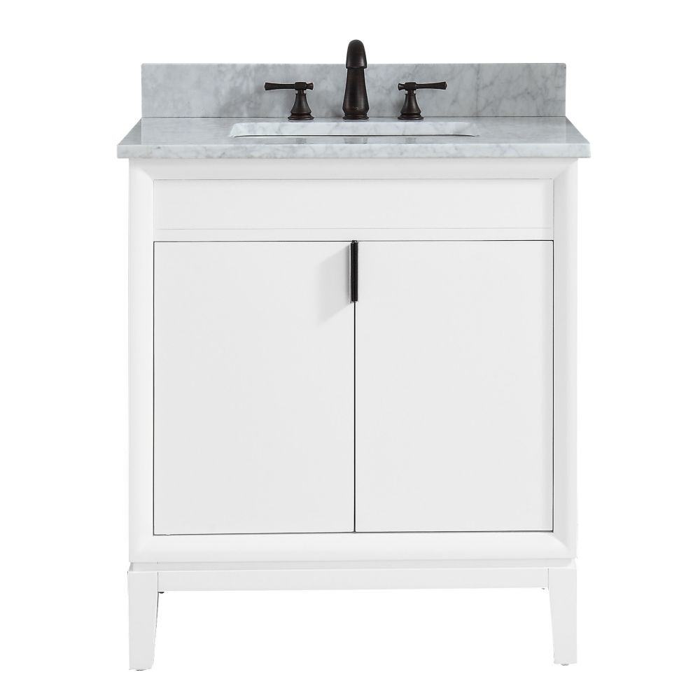 Avanity Emma 31 inch Vanity Combo in White with Carrera White Marble Top