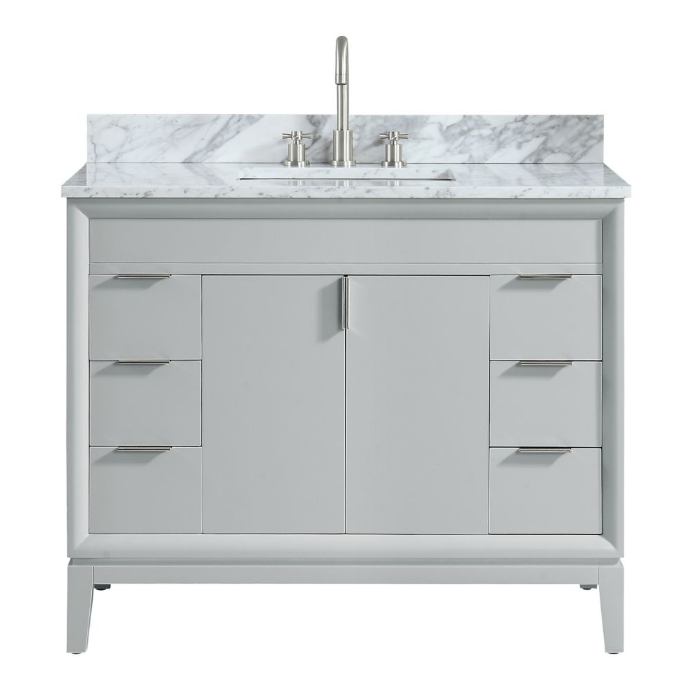Avanity Emma 43 inch Vanity Combo in Dove Gray with Carrera White Marble Top