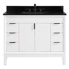 Emma 43 inch Vanity Combo in White with Black Granite Top