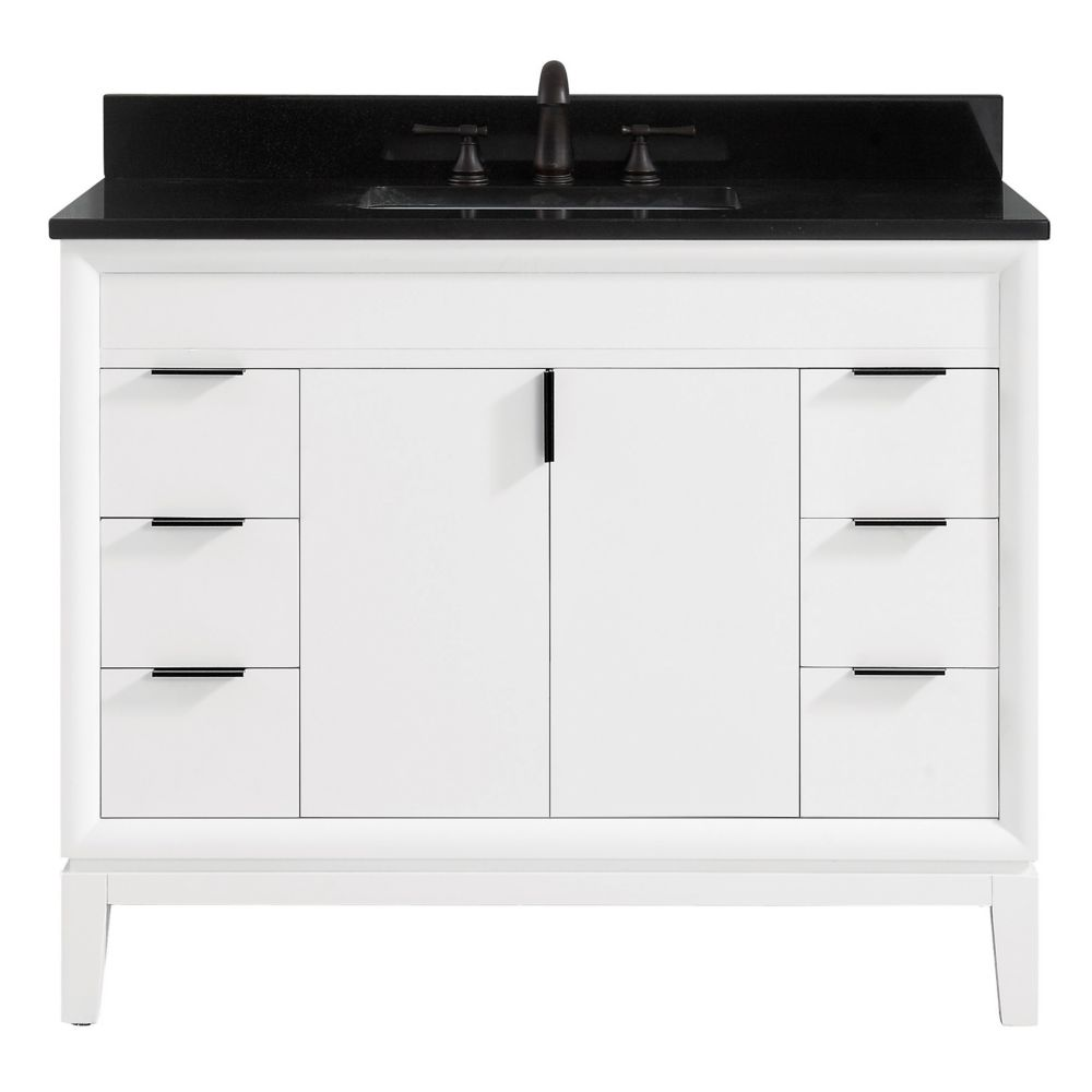 Avanity Emma 43 inch Vanity Combo in White with Black Granite Top