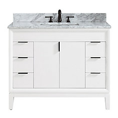 Emma 43 inch Vanity Combo in White with Carrera White Marble Top