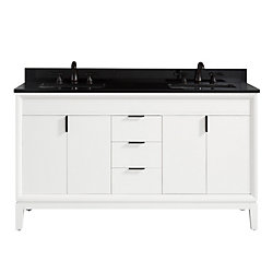 Avanity Emma 61 inch Vanity Combo in White with Black Granite Top