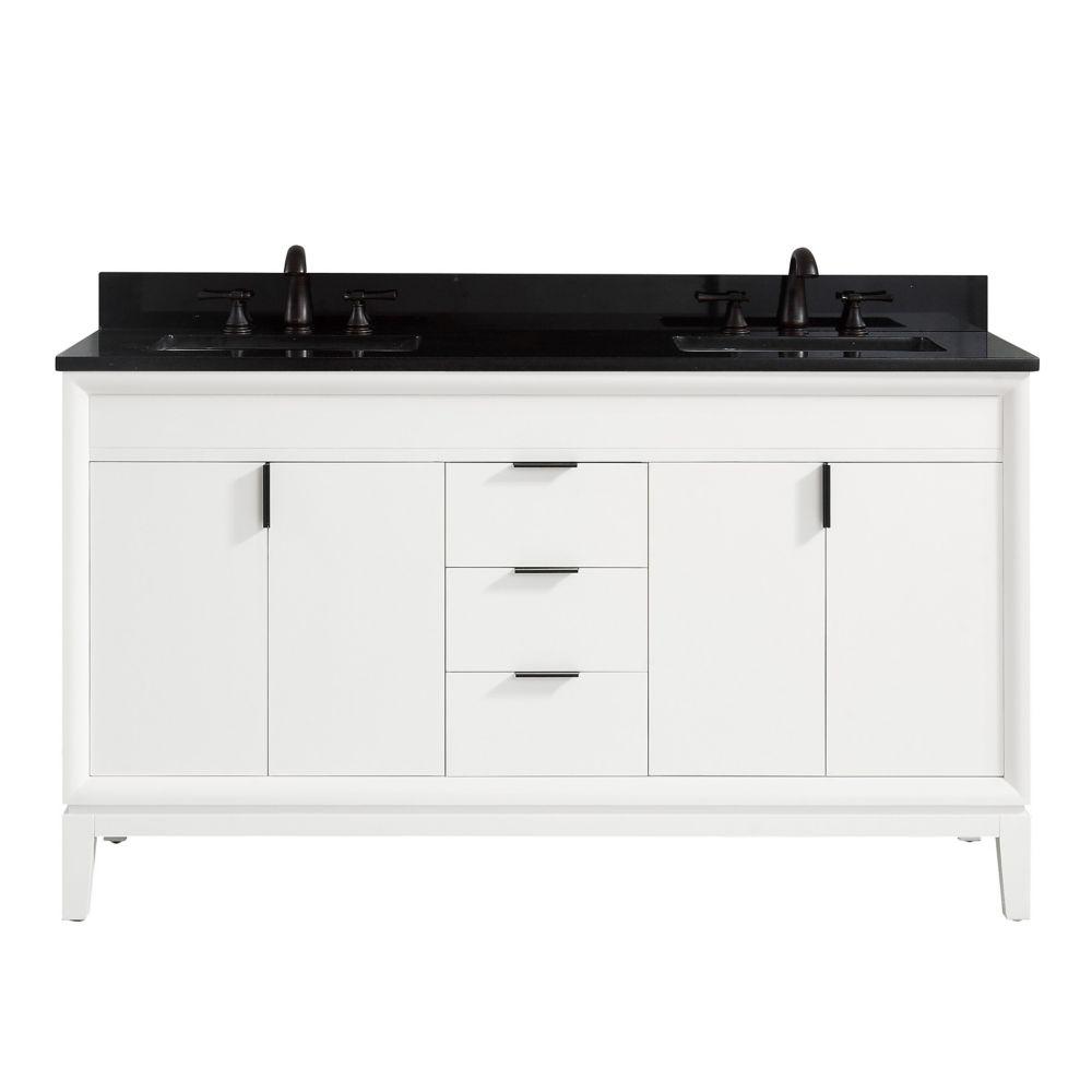 Avanity Emma 61 inch Vanity Combo in White with Black Granite Top