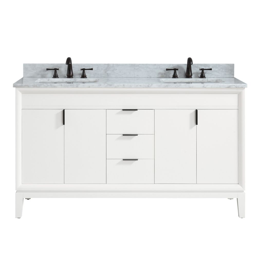 Avanity Emma 61 inch Vanity Combo in White with Carrera White Marble Top