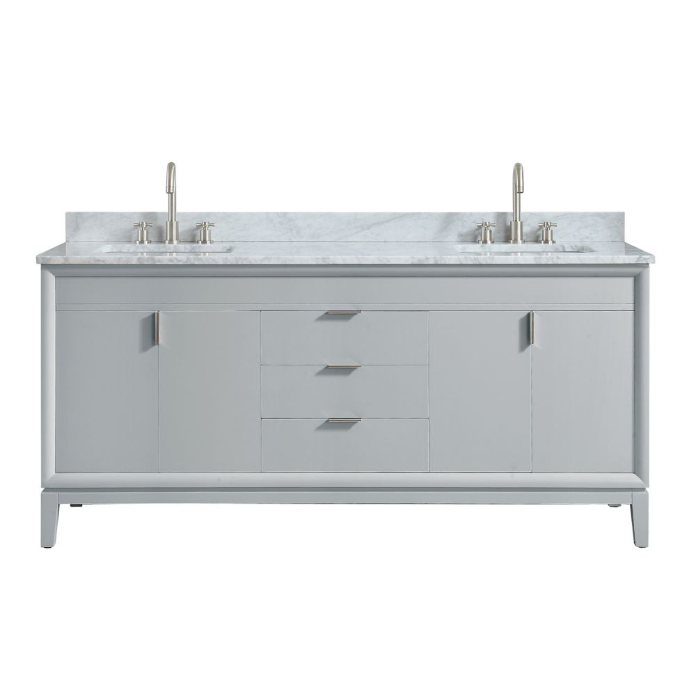 Avanity Emma 73 inch Vanity Combo in Dove Gray with Carrera White Marble Top