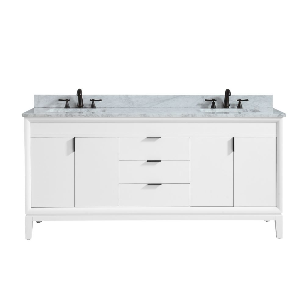 Emma 73 inch Vanity Combo in White with Carrera White Marble Top