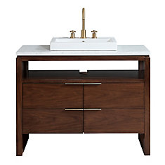 Giselle 43 inch Vanity in Natural Walnut with Carrera White Marble Top