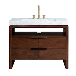 Avanity Giselle 43 inch Vanity in Natural Walnut with Integrated Carrera White Marble Top