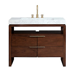 Giselle 43 inch Vanity in Natural Walnut with Integrated Carrera White Marble Top