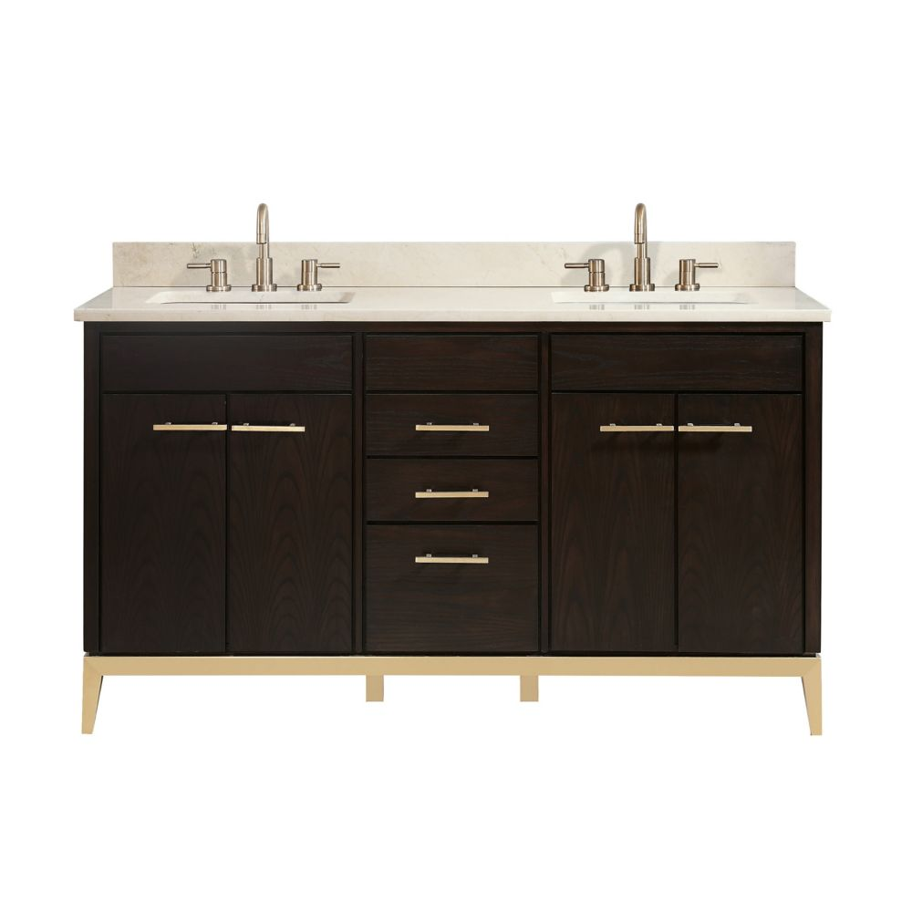 Hepburn 61 inch Vanity Combo in Dark Chocolate with Crema Marfil Marble Top