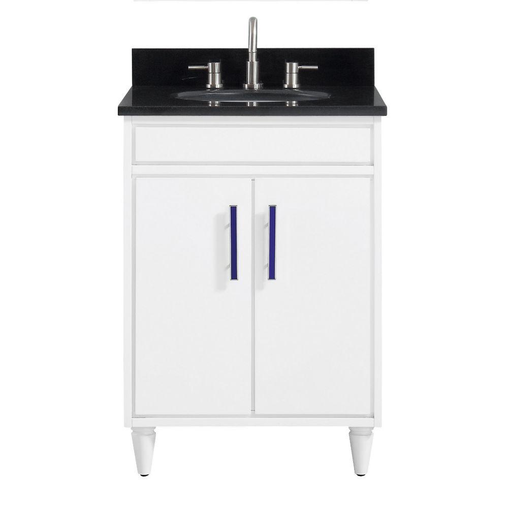 Avanity Layla 25 inch Vanity Combo in White with Black Granite Top