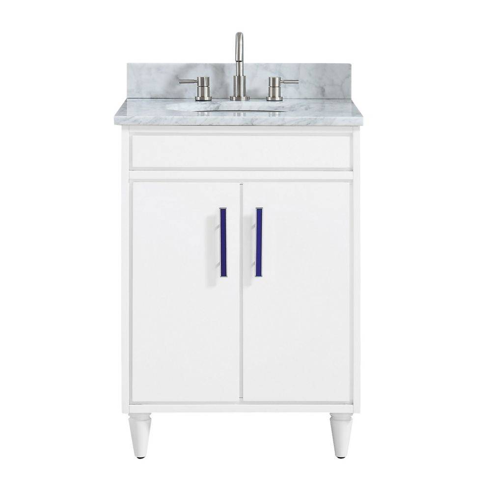 Avanity Layla 25 inch Vanity Combo in White with Carrera White Marble Top