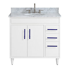 Layla 37 inch Vanity Combo in White with Carrera White Marble Top