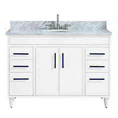 Layla 49 inch Vanity Combo in White with Carrera White Marble Top
