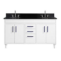 Avanity Layla 61 inch Vanity Combo in White with Black Granite Top