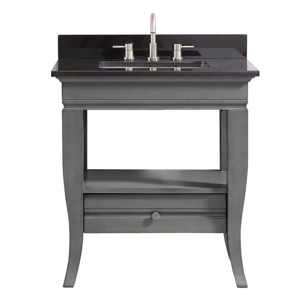 Avanity Milano 31 inch Vanity in Light Charcoal finish with Black Granite Top