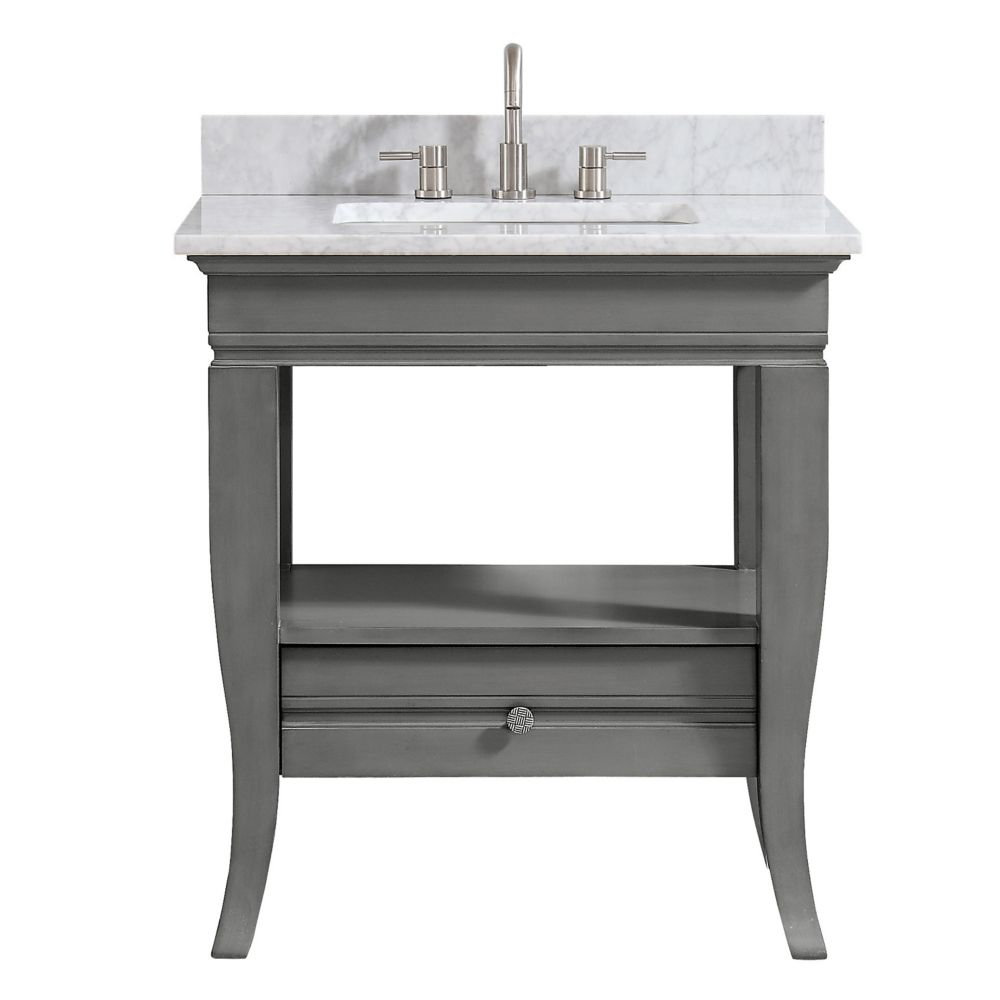 Avanity Milano 31 inch Vanity in Light Charcoal finish with Carrera White Marble Top