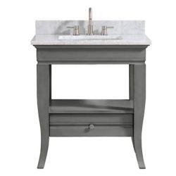 Avanity Meuble-lavabo Milano, fini charbon pâle, et comptoir en marbre de Carrare blanc de 31po