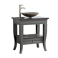 Milano 31 inch Vanity in Light Charcoal finish with Light Charcoal Granite Vessel Top