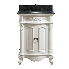 Provence 25 inch Vanity in Antique White finish with Impala Black Granite Top