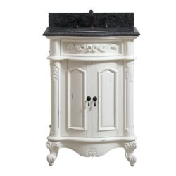 Avanity Provence 25 inch Vanity in Antique White finish with Impala Black Granite Top