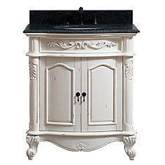 Provence 31 inch Vanity in Antique White finish with Impala Black Granite Top