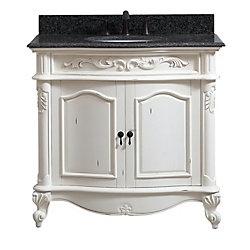Avanity Provence 37 inch Vanity in Antique White finish with Impala Black Granite Top
