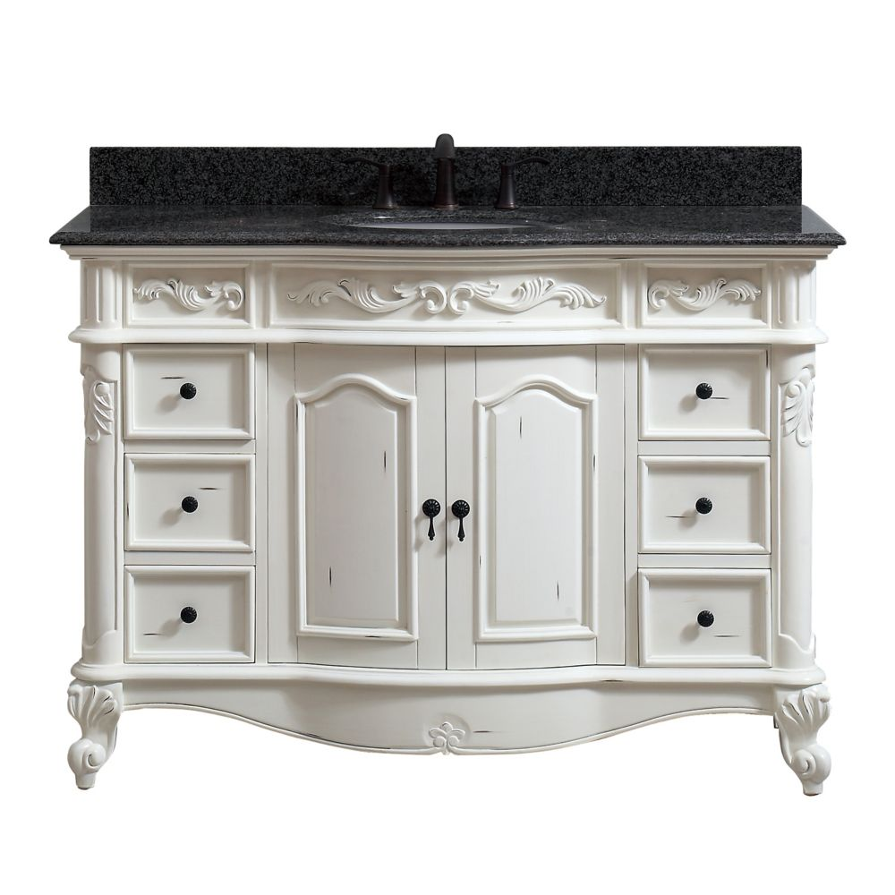 Avanity Provence 49 inch Vanity in Antique White finish with Impala Black Granite Top