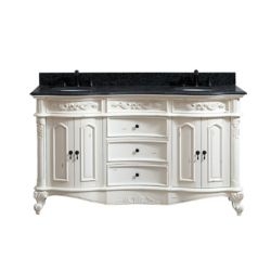 Avanity Provence 61 inch Double Vanity in Antique White finish with Impala Black Granite Top