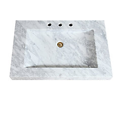 33 inch Stone Integrated Sink Top in Carrera White Marble