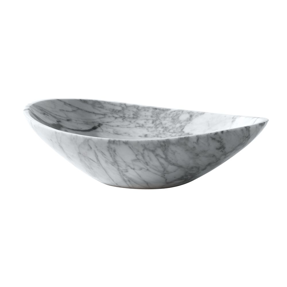 Avanity 20 inch Oval Stone Vessel in Carrera White Marble