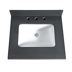 25 inch Gray Quartz Vanity Top with Rectangular Undermount Sink