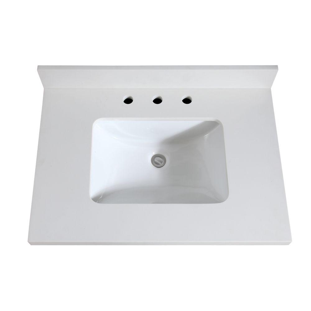 Avanity 31 inch White Quartz Vanity Top with Rectangular Undermount Sink